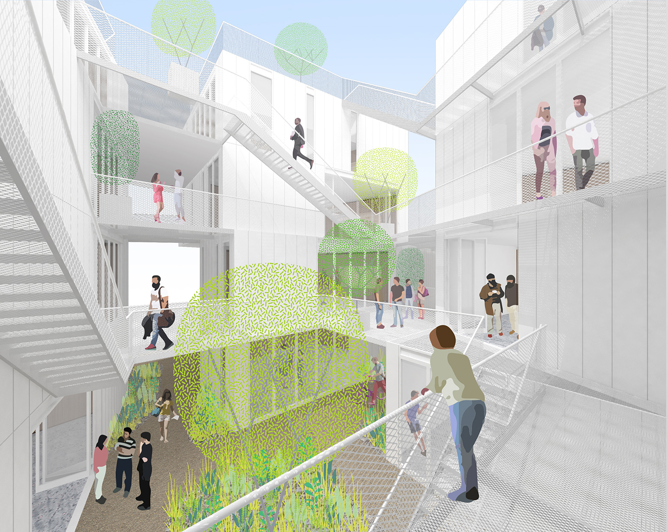A Rize Co-Living Project in Los Angeles. Preliminary concept by Lorcan O'Herlihy Architects.